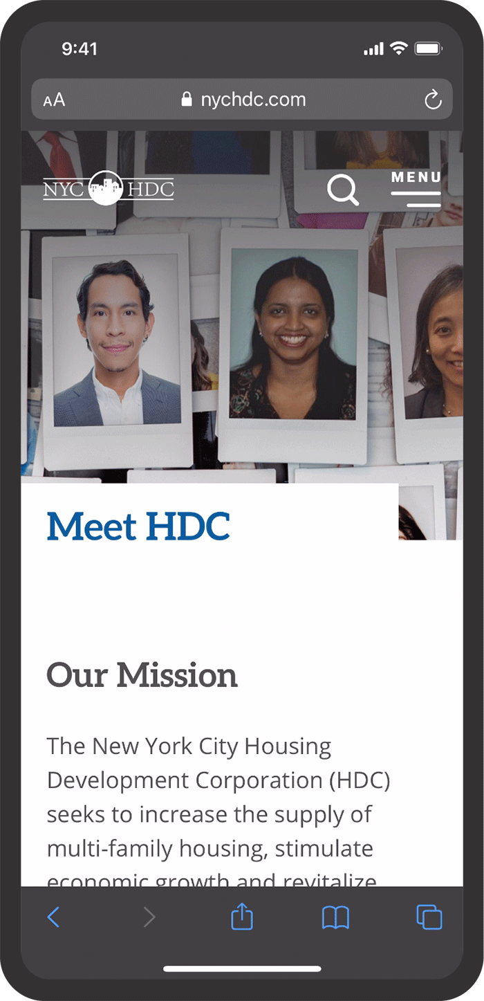 NYCHDC website mobile view