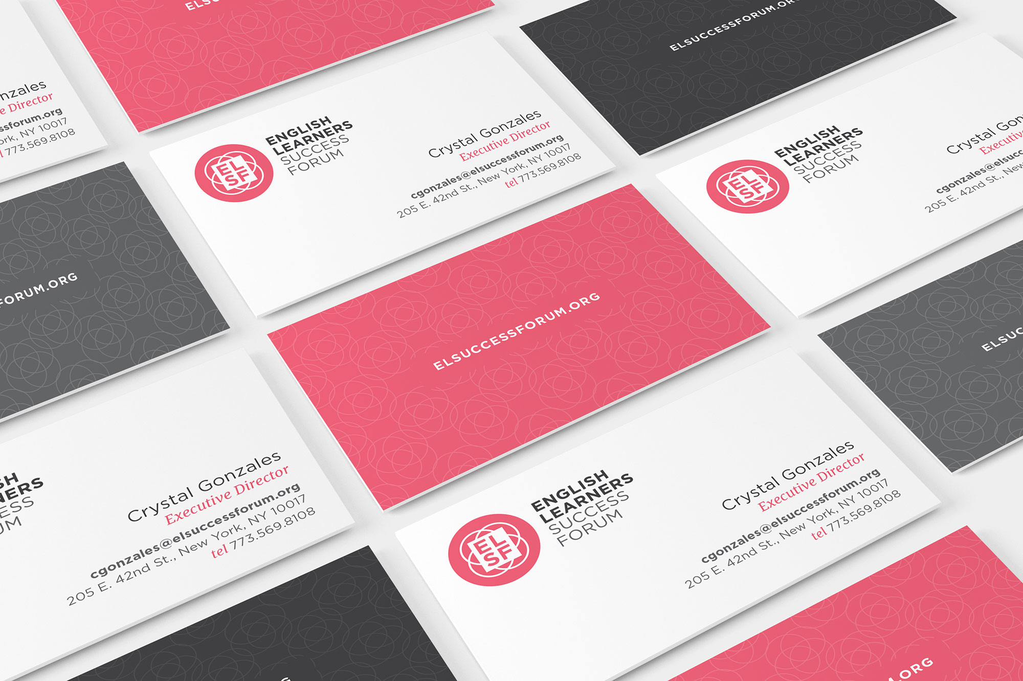 ELSF business cards in a grid