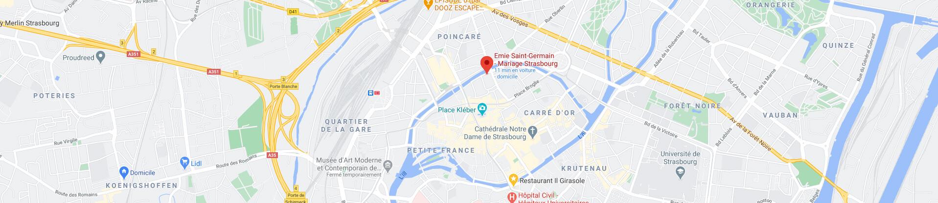 Plan d'Emie Saint Germain, boutique de robe de mariée à Strasbourg