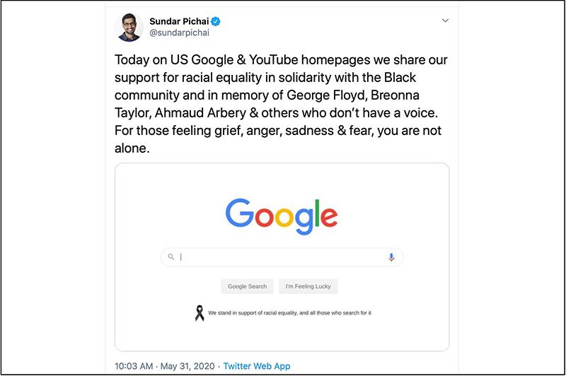 google's brand activism response to black lives matter
