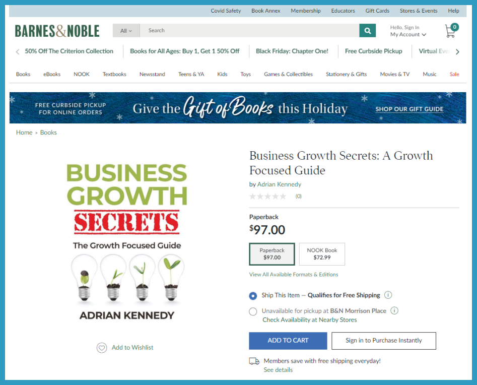 Xscape Publishing Book Business Growth Secrets On Barnes and Noble Website
