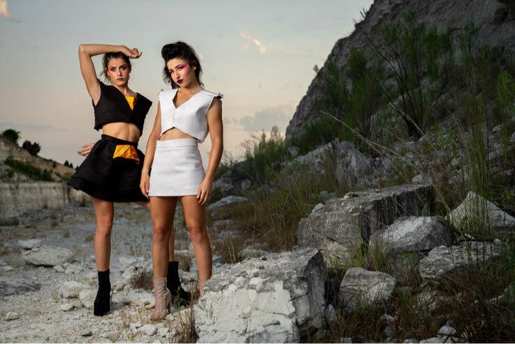 2 women photography fashion outdoor black sky creative