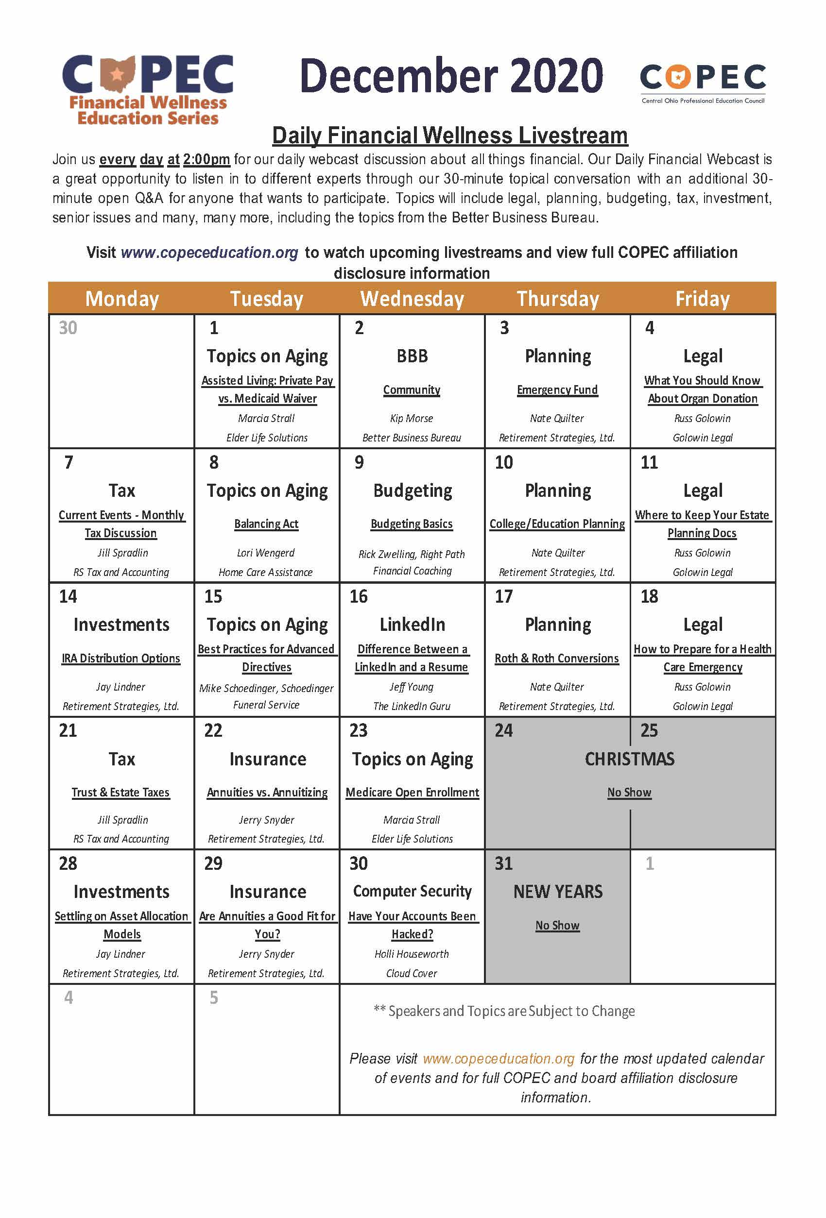 webcast schedule