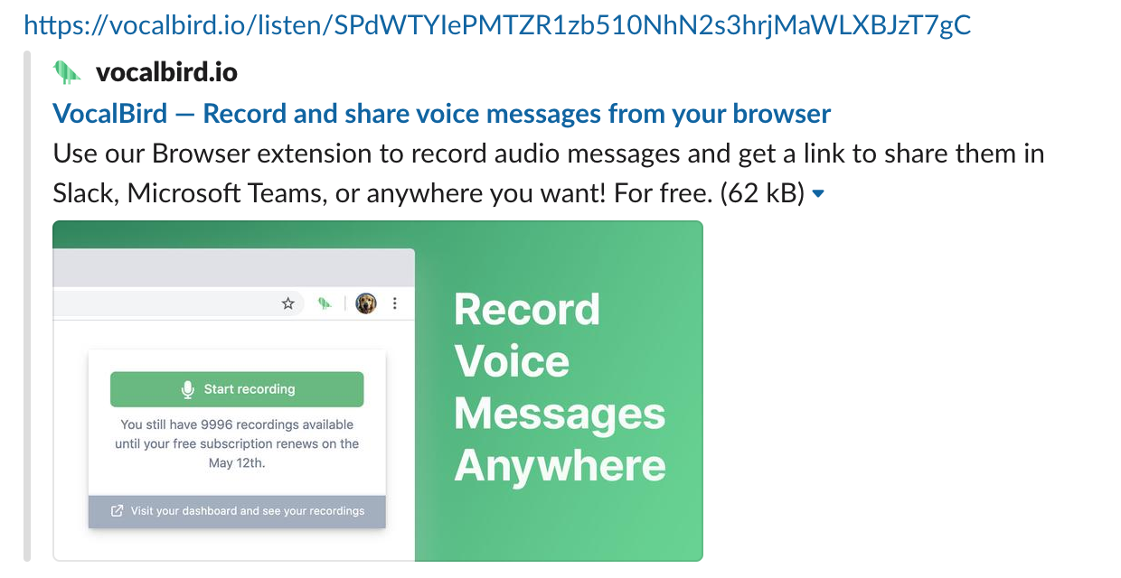 VocalBird record and share voice messages from browser