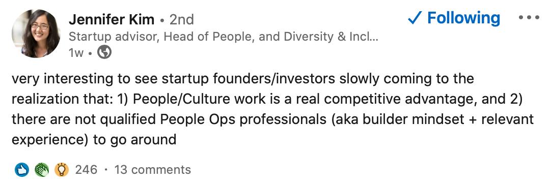 Screenshot of Jennifer Kim LinkedIn post