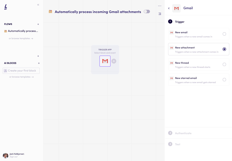 Define triggers on Levity's AI platform
