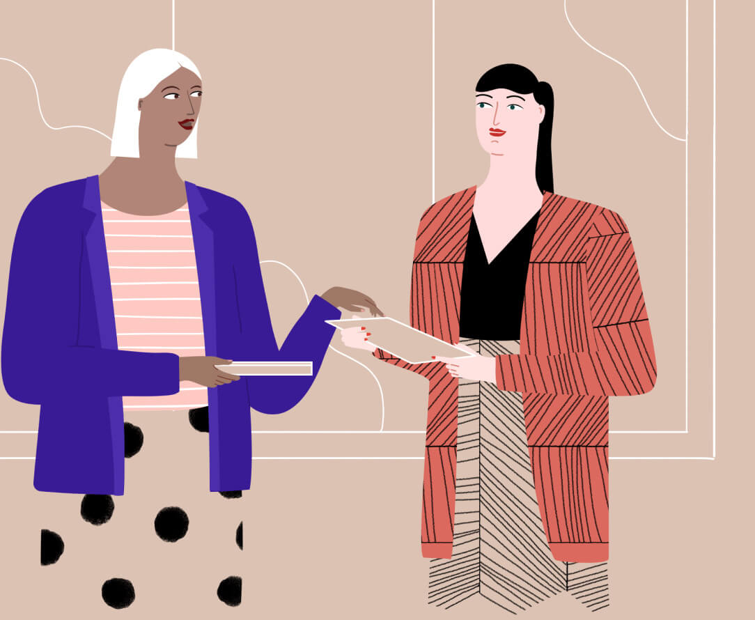 two women chatting illustration