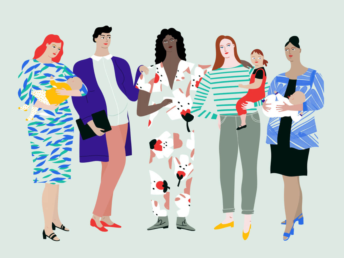 people with kids illustration