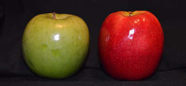 red and green apples on a dark background