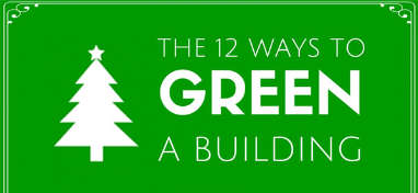 green sign with the words the twelve ways to green a building plus bel-con logo