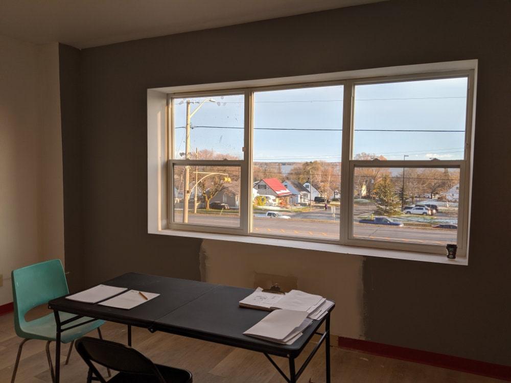 interior view of office window