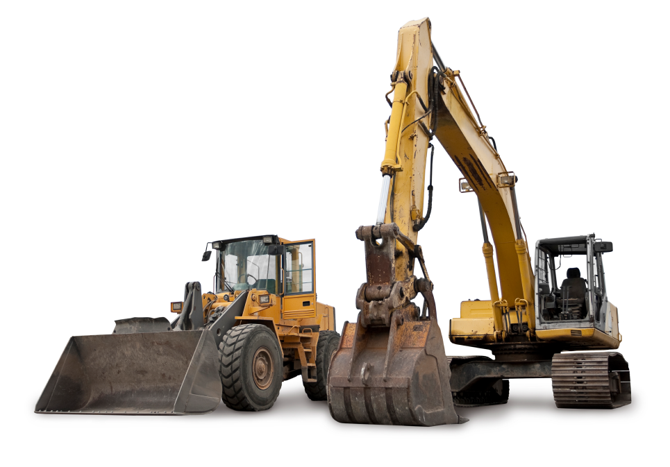 A wheel loader and an excavator