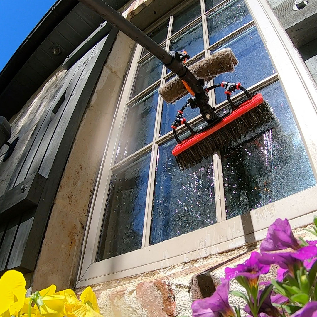 A beautiful residential window getting cleaned.