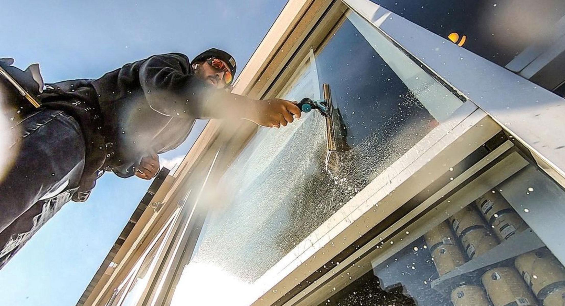 Commercial window cleaned in winter season.