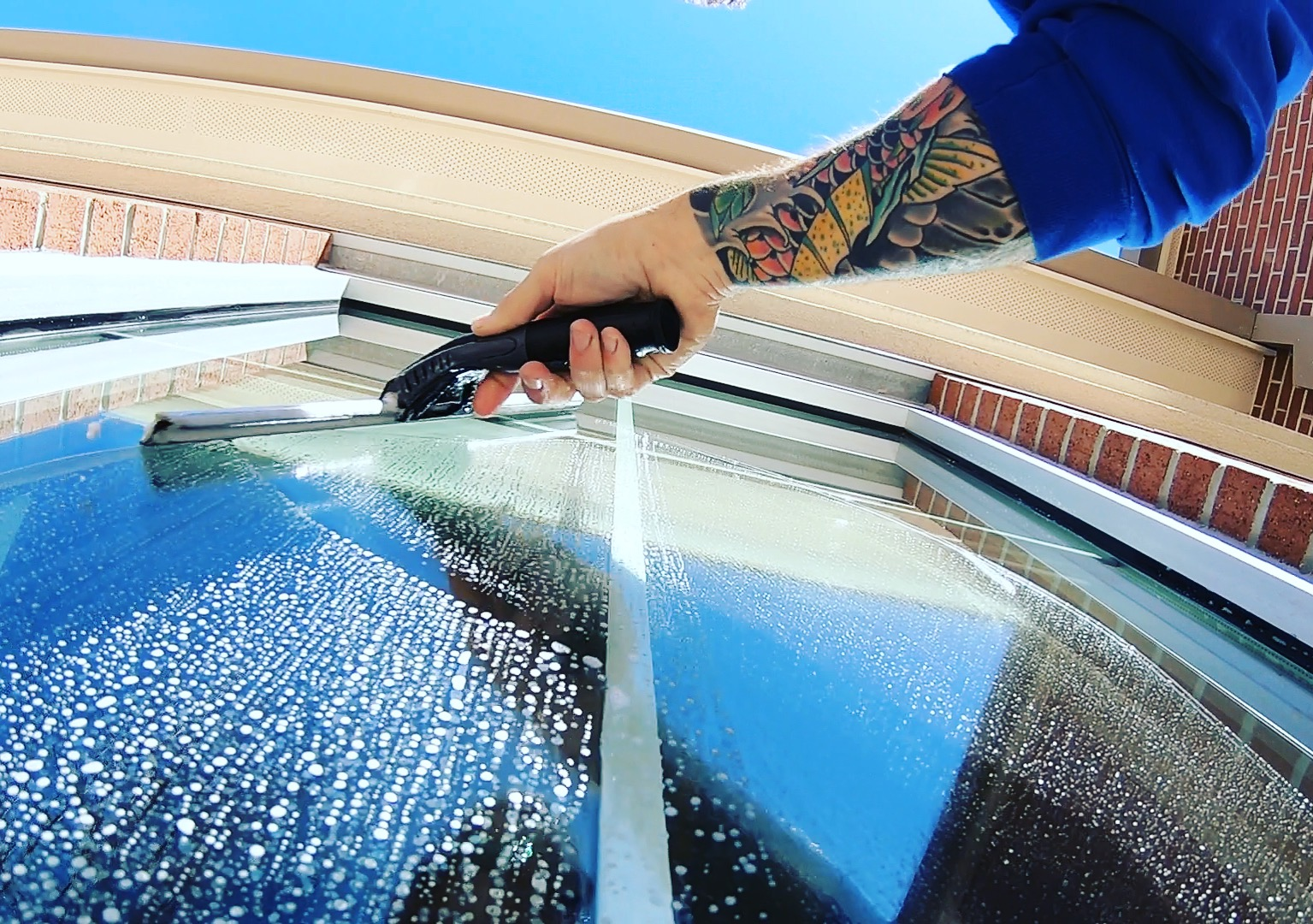 Exterior residential window clean.