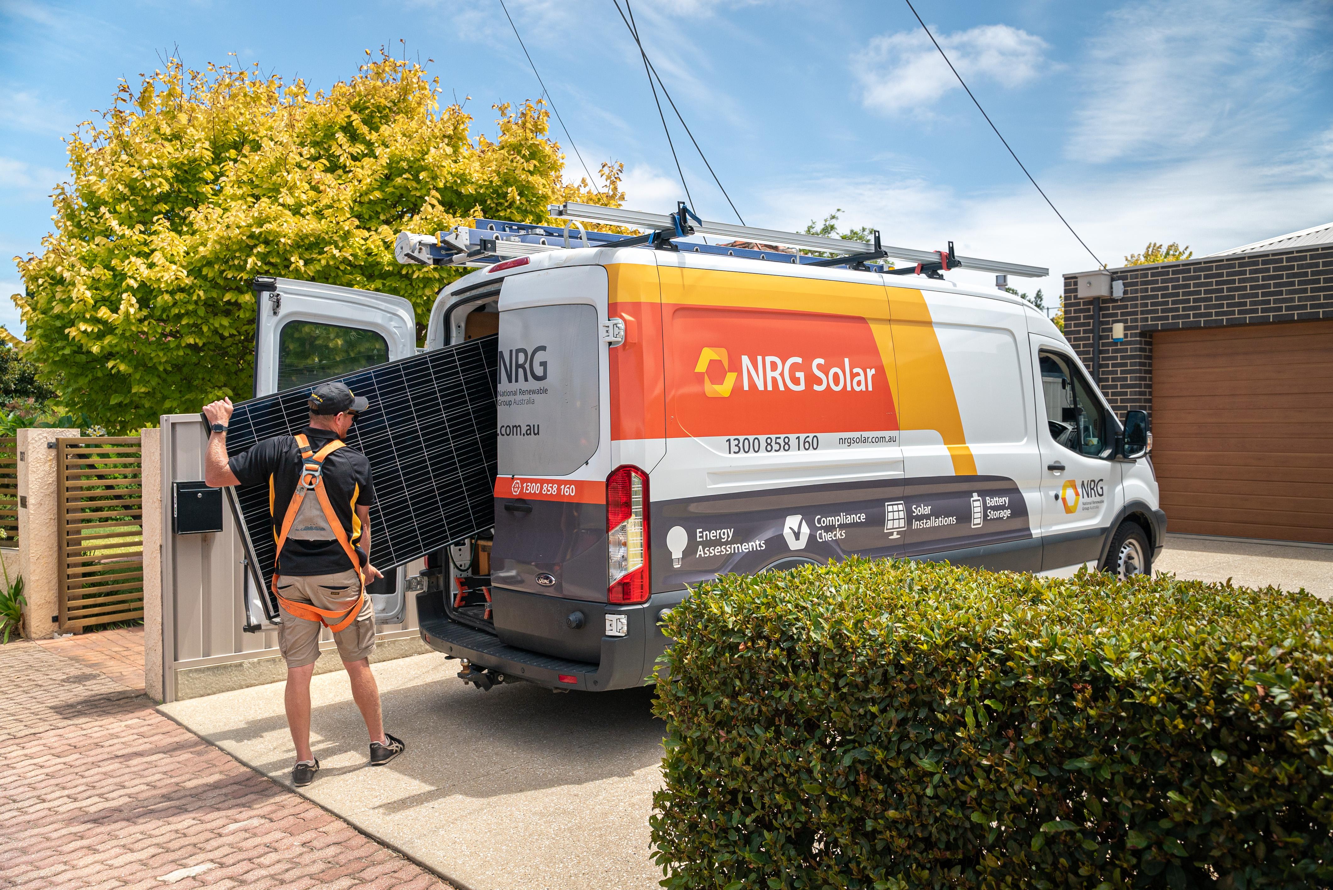 The NRG solar power van on the road
