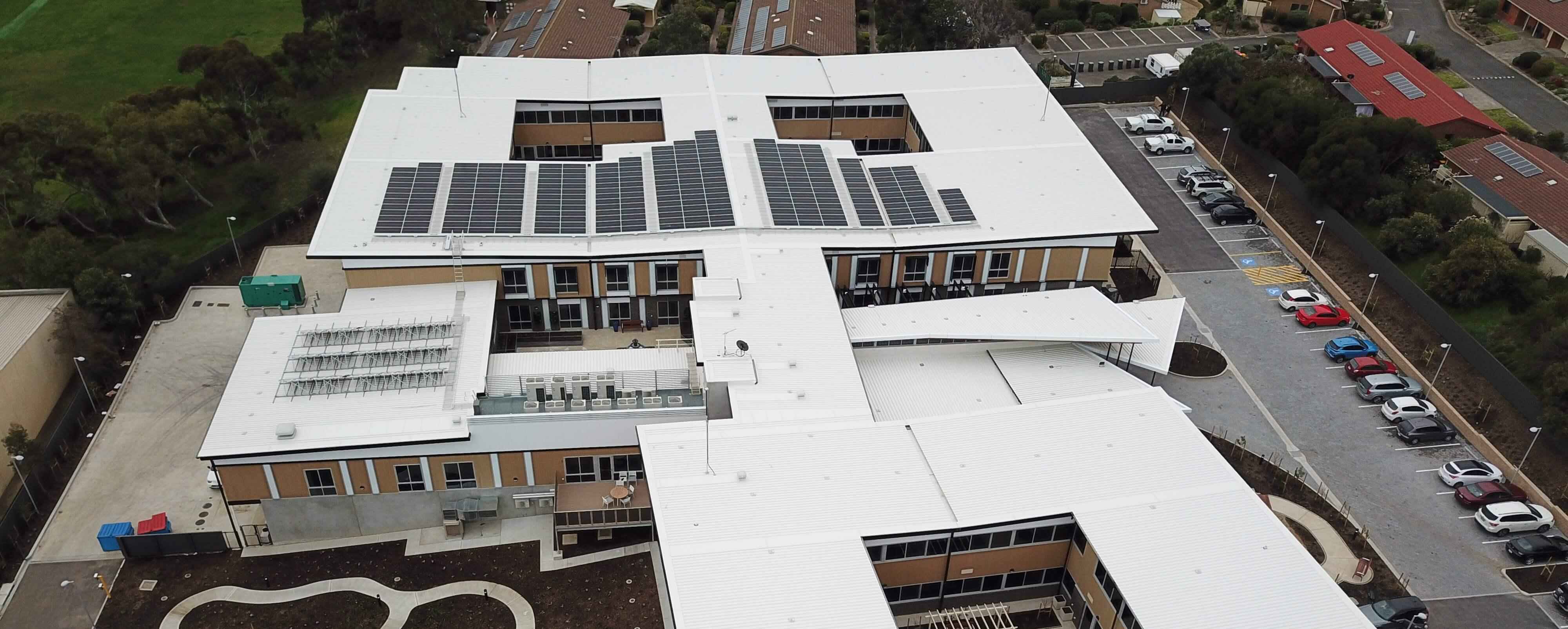 Commercial solar panels, overhead shot