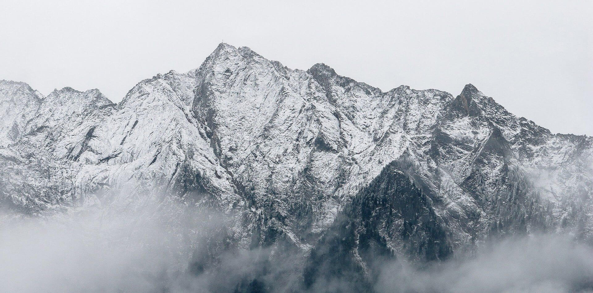 Mountains with Show and Fog