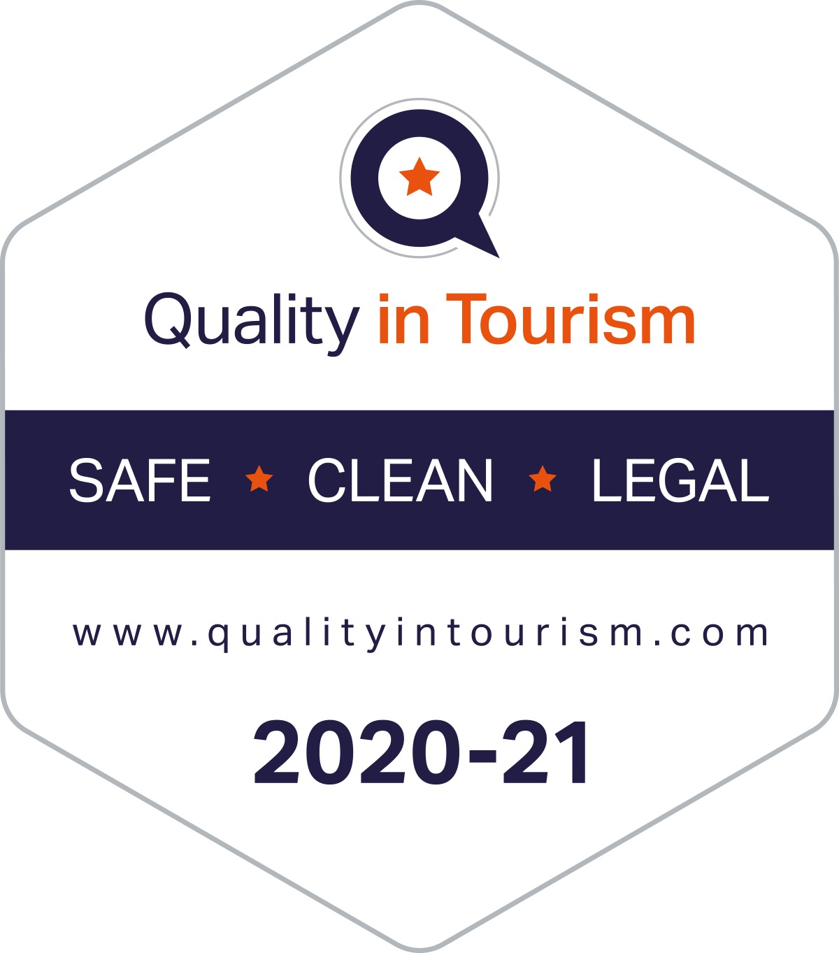 Quality in Tourism 2020 and 2021 safe, clean and legal badge