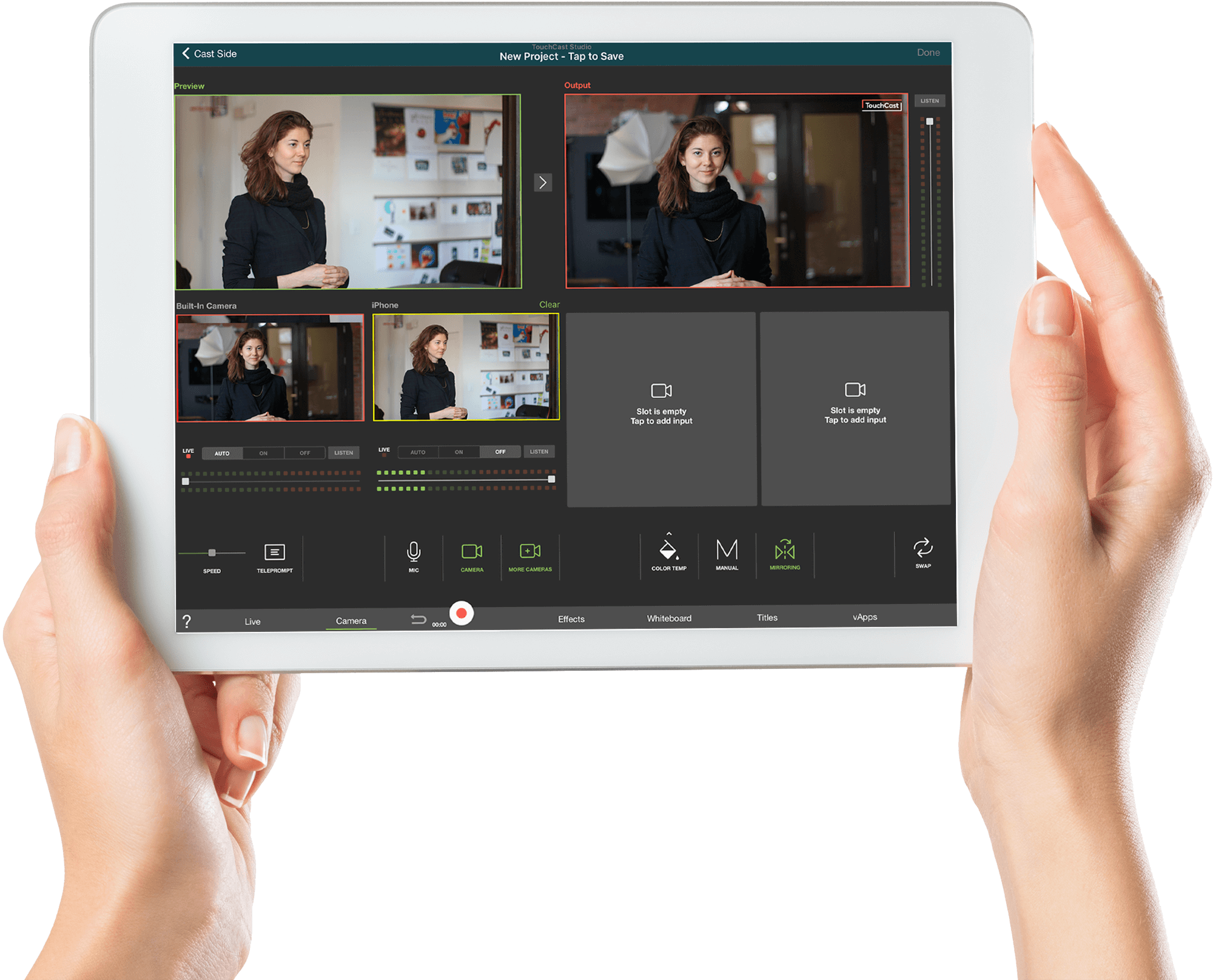 Touchcast virtual conference software on iPad