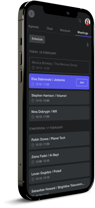 An iPhone rendering of Touchcast virtual event software