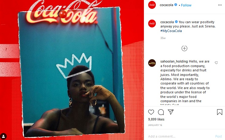 Coca-Cola using their branded hashtag #MyCocaCola on Instagram post