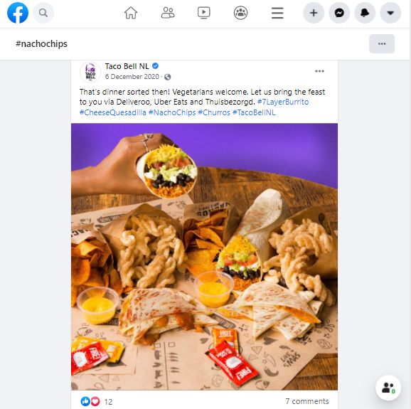 Hashtags on Facebook can increase the visibility of your post. Here's an example from Taco Bell using hashtag #nachochips