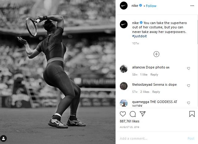 Nike using their famous tagline #Justdoit on Instagram.