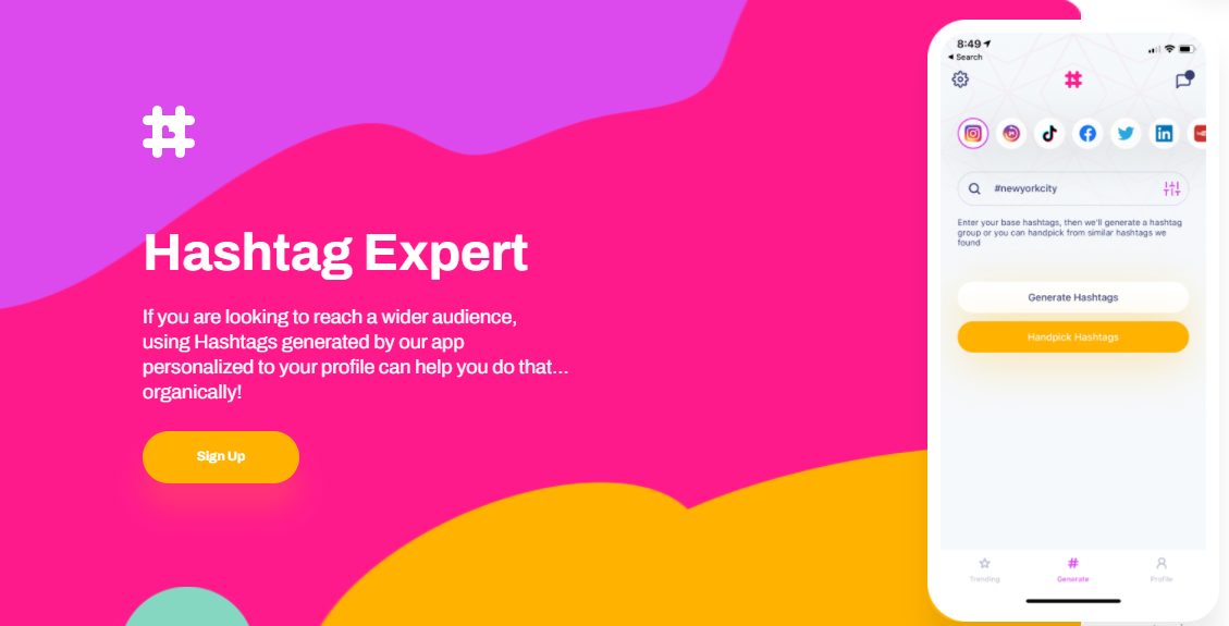 Hashtag expert tag Generator app, website homepage