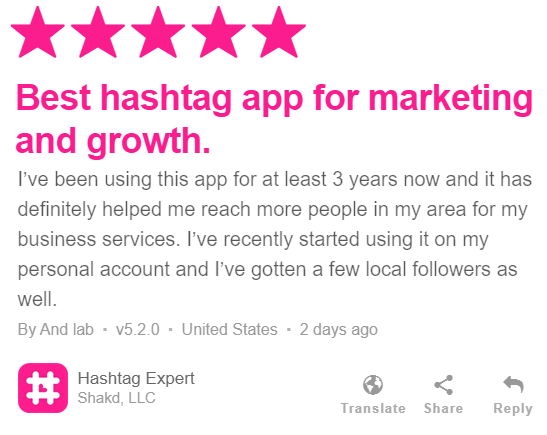 Hashtag Expert app user feedback