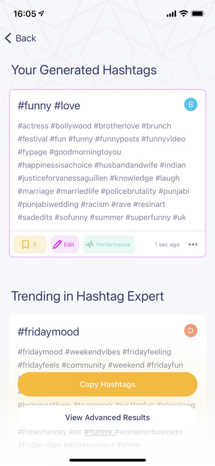 TikTok hashtag search on the Hashtag Expert app
