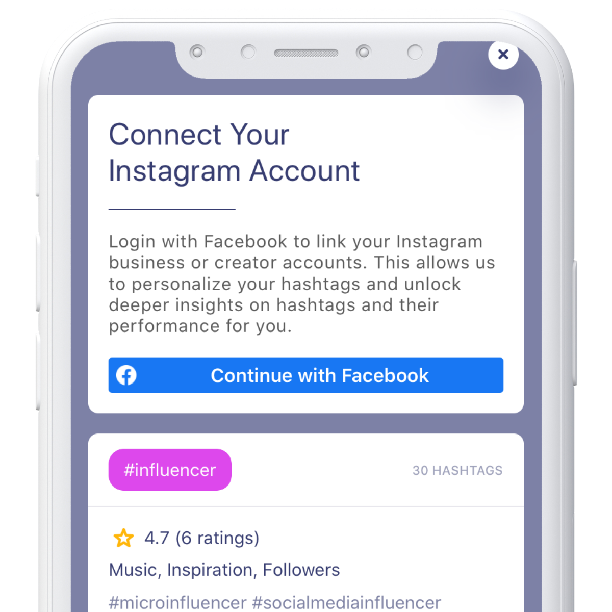 Connect Facebook or Instagram Business/Creator account with Hashtag Expert app