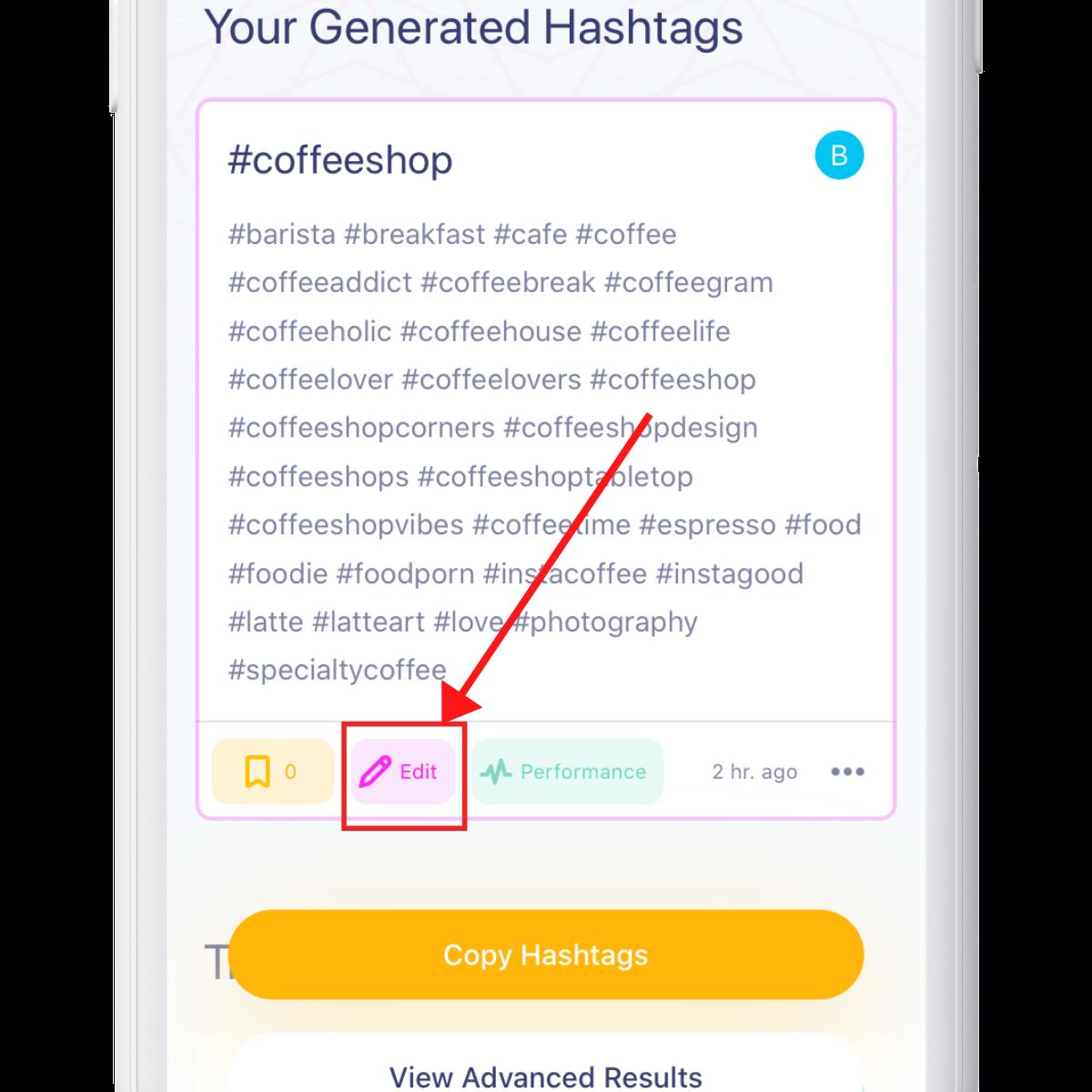 edit hashtags on Hashtag Expert app