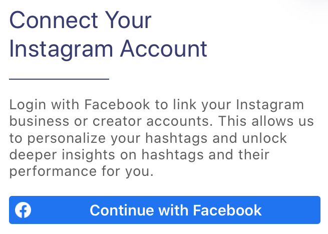connect Instagram or Facebook Business or Creator account for personalized hashtag suggestions