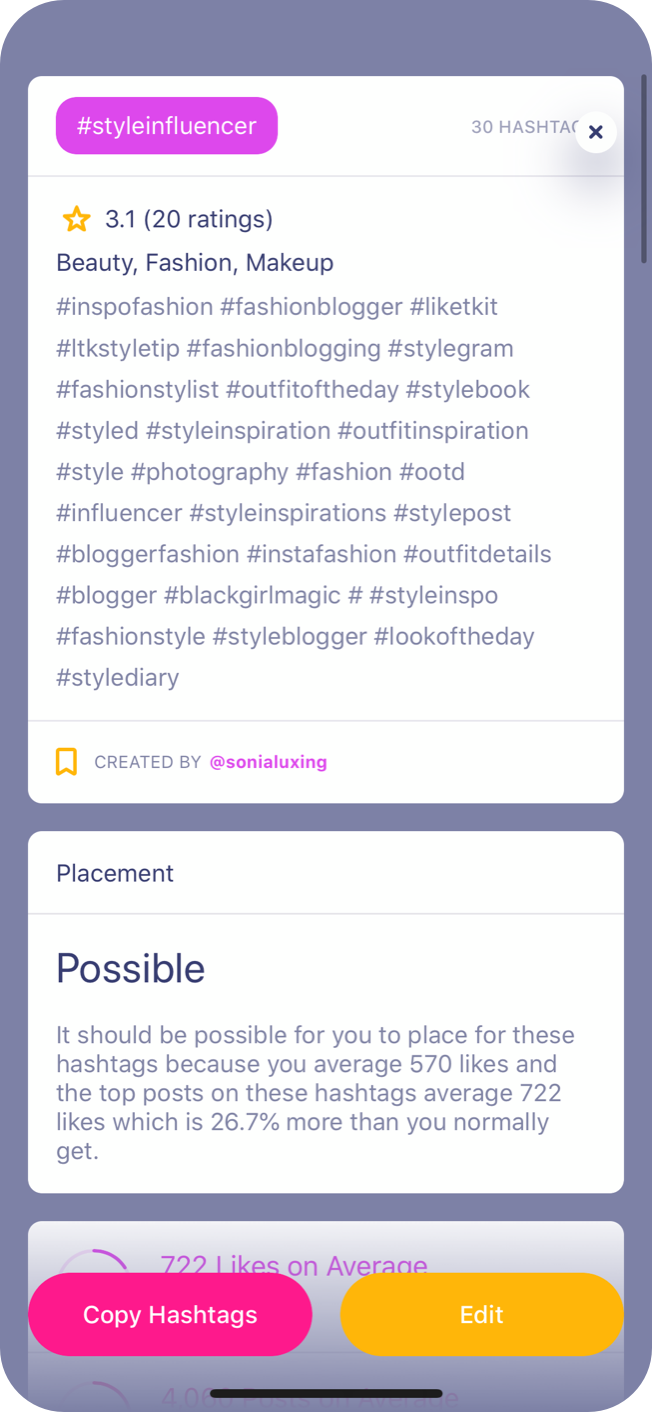 Hashtag Expert Features