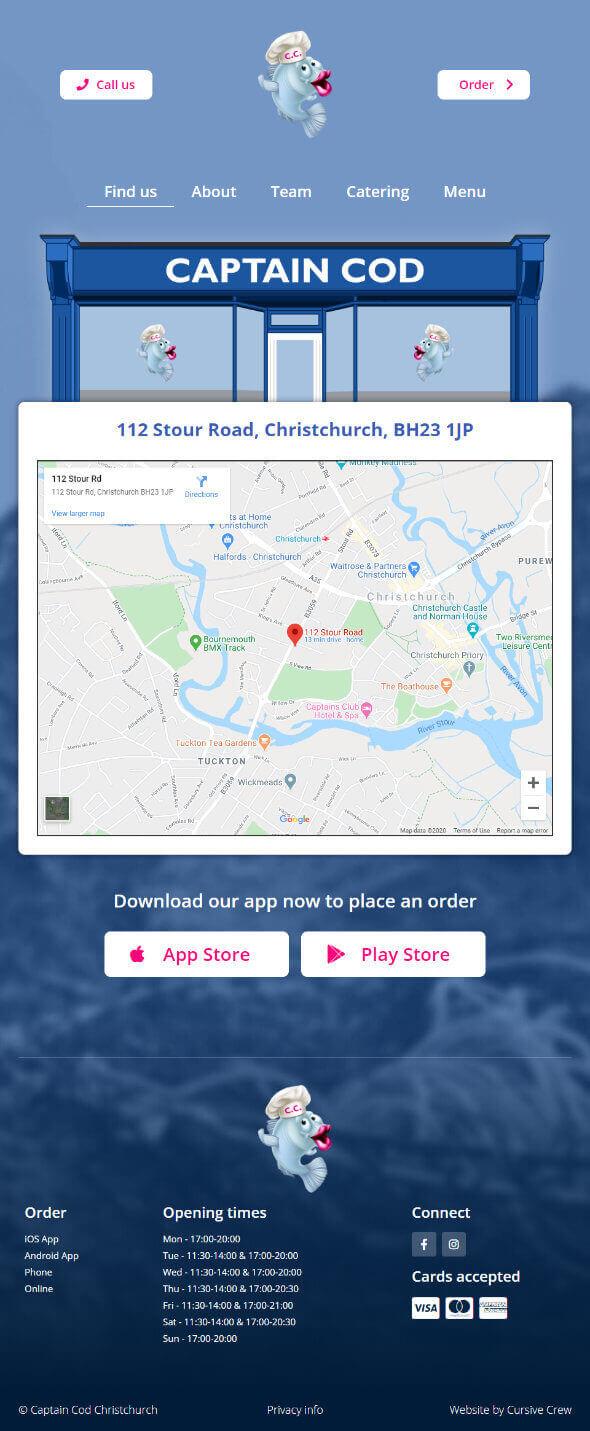 captaincodchristchurch.co.uk website screenshot
