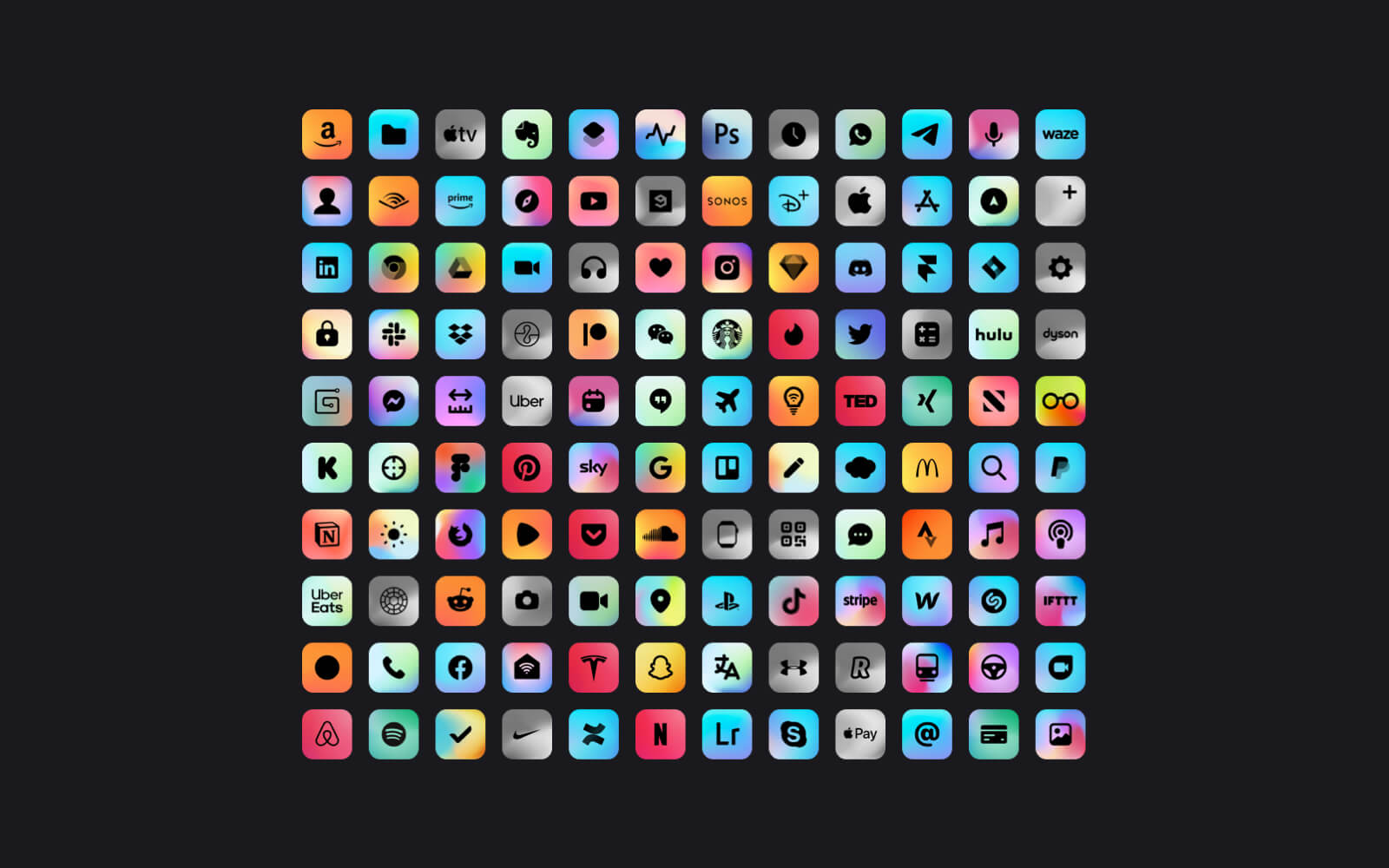 Overview of all ambient app icons from the Ambient icon pack for iOS and iPadOS