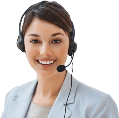 Smiling women wearing a phone headset