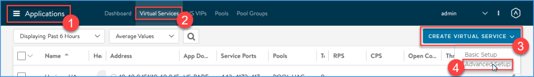 Create a Virtual Service through advanced setup on NSX Advanced Load Balancer