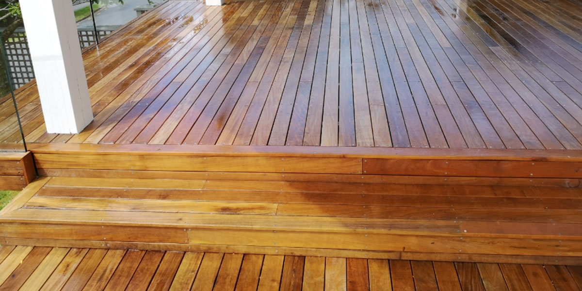 A deck clean after pressure washing.