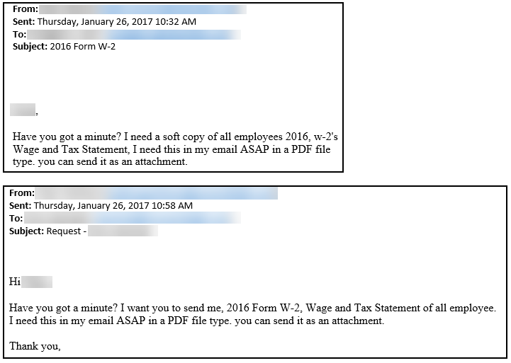 W-2 Form Email Scam example emails