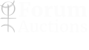 Forum's auction company logo in black and white