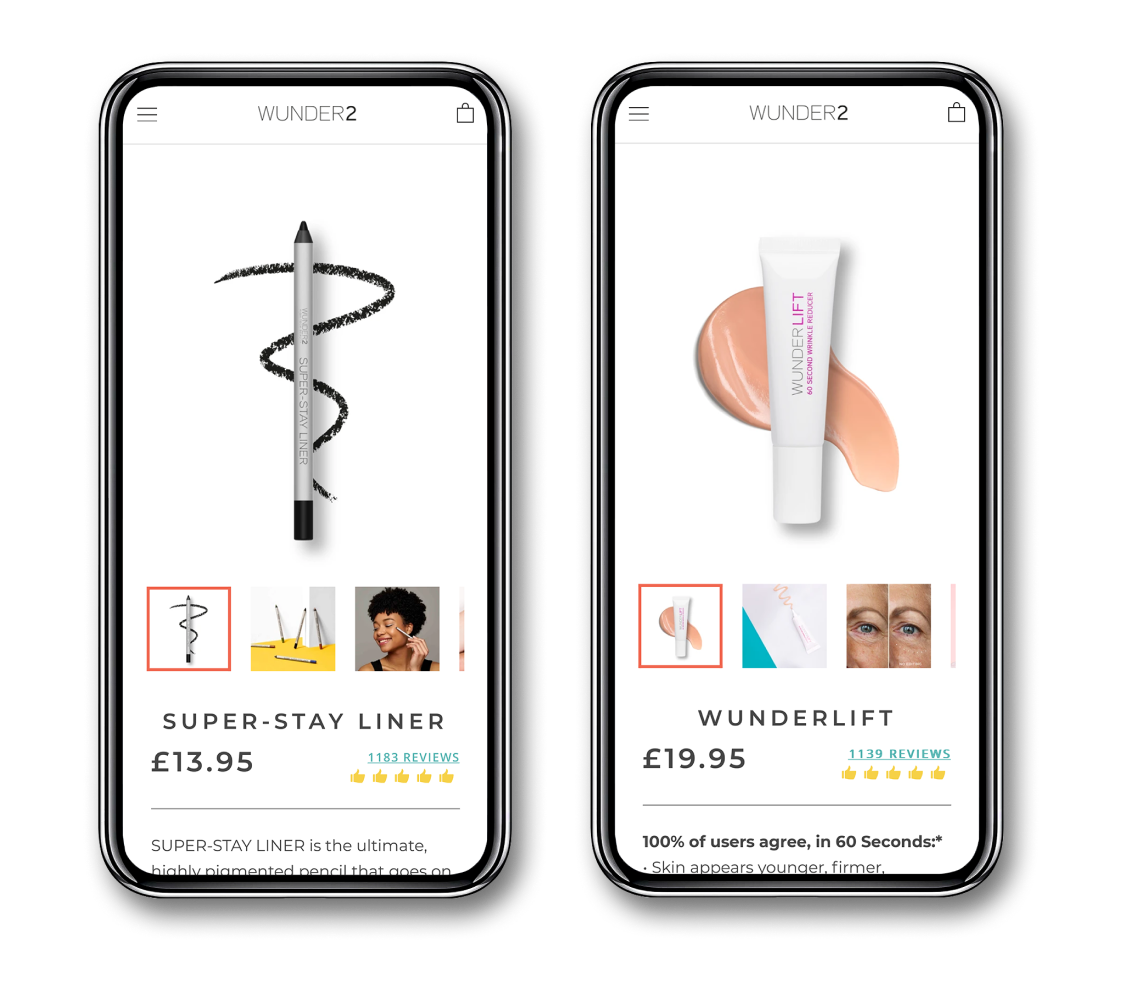Shopify beauty product website presented on iphone