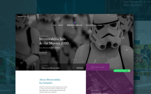 Ewbank's auctioneers website design