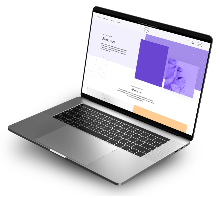 website design mockup presented on macbook