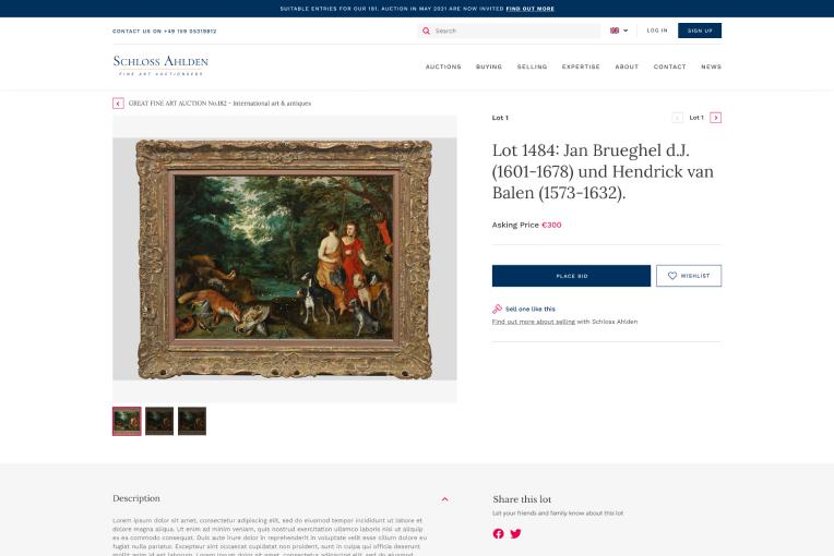 Live online auction displaying antique artwork sale