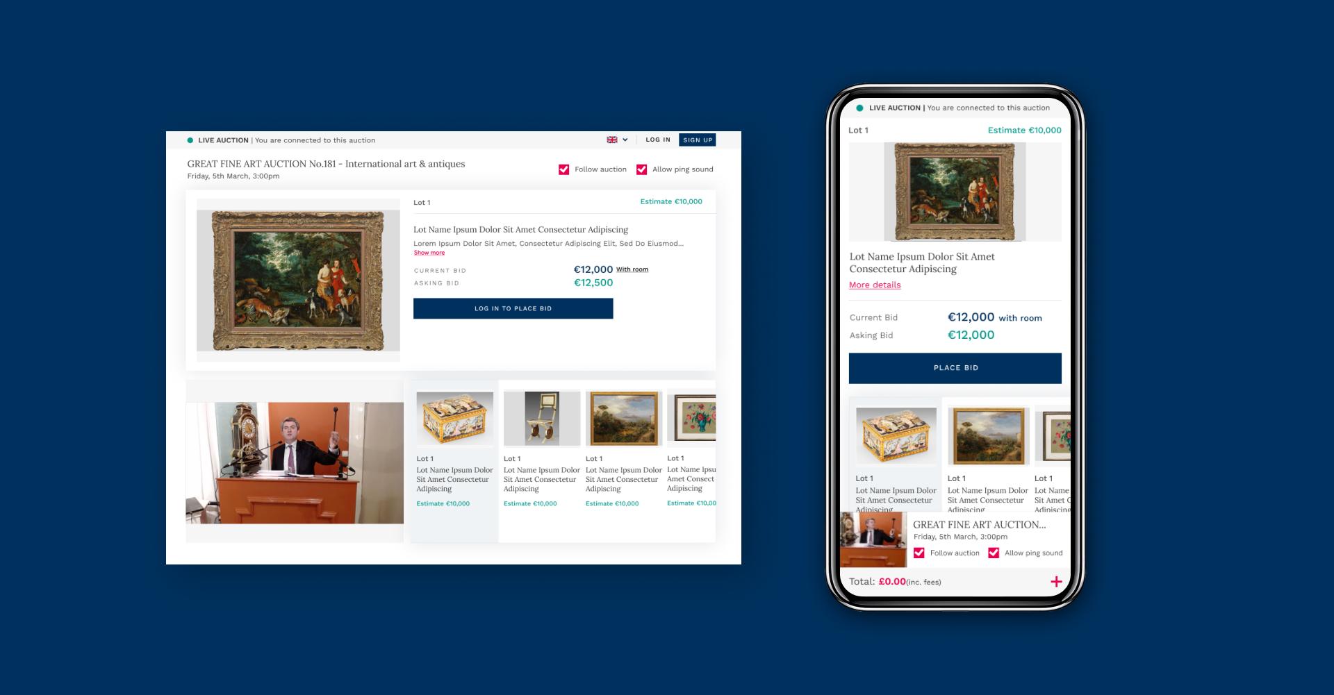 Screenshots from live online auction website