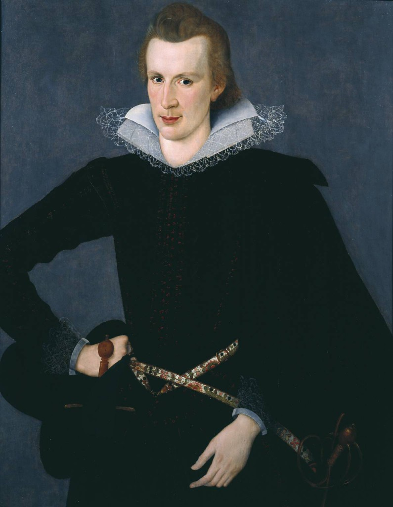 Portrait of a Man in a Slashed Black Doublet circa 1605 by Sir William Segar active 1580 or 5-1633