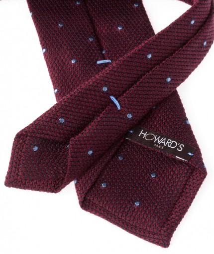 cravate-en-grenadine-de-laine-bordeaux-et-pois-bleus-7-cm