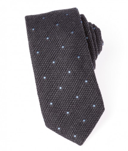 cravate-en-grenadine-de-laine-grise-et-pois-bleus-7-cm